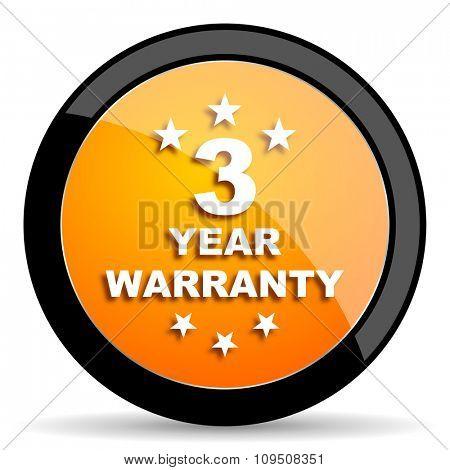 warranty guarantee 3 year orange icon