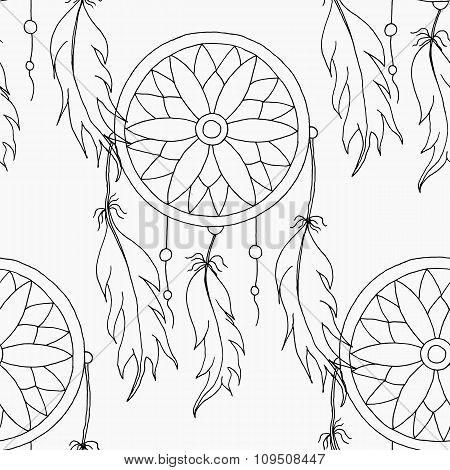 hand to draw a seamless pattern Dreamcatcher