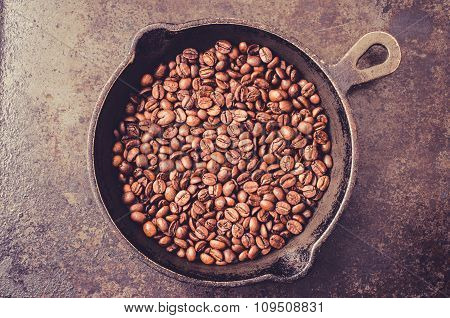 Frying Pan With Coffee Beans