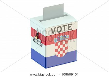 Ballot Box With Flag Of Croatia