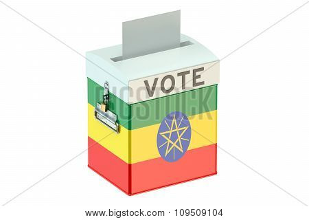 Ballot Box With Flag Of Ethiopia
