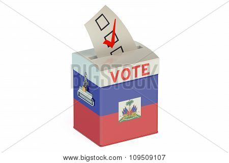 Ballot Box With Flag Of Haiti