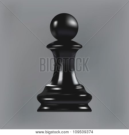 Realistic black chess pawn
