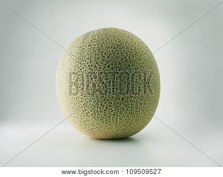 Cantaloupe melon isolated on natural white background.