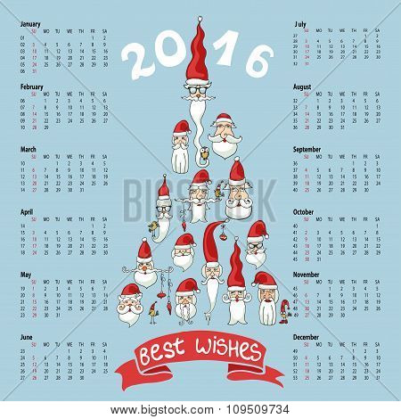 Calendar 2016 New year.Santa faces
