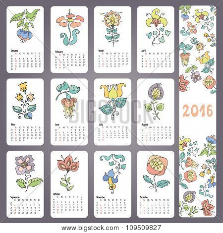 Calendar 2016 with Doodles flowers,Monthly cards