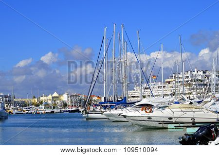Luxury yachts in Vilamoura Marina