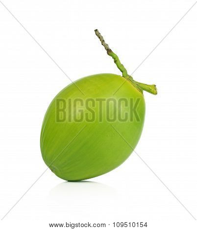 Green Coconut Fruit Isolated On White Background.