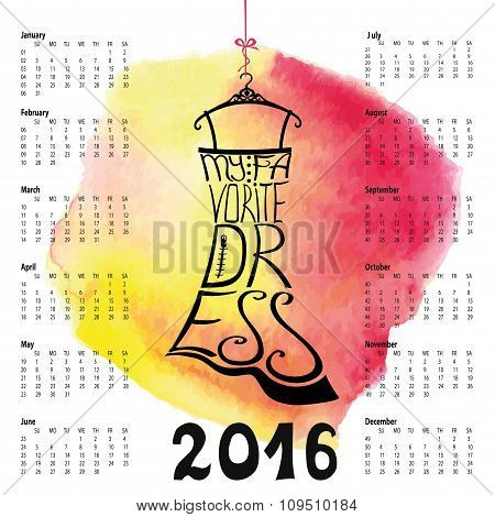 Calendar 2016 year.Lettering.Black Dress Silhouette