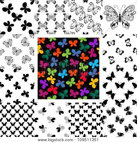 Set Seamless Patterns With Butterflies