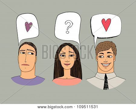 Feelings of three people. Hand-drawn vector illustration about love.