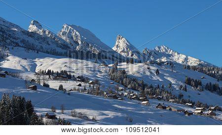 Churfirsten Range In Winter