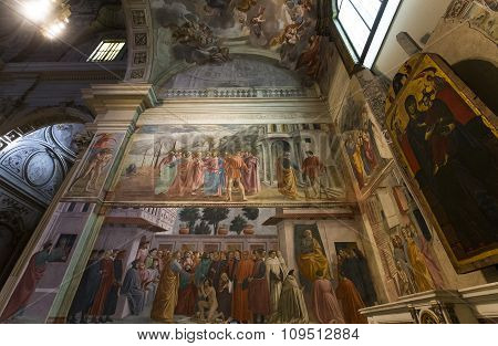 Interiors Of Brancacci Chapel, Florence, Italy