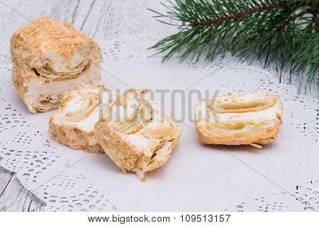 Napoleon Cake On A Paper Napkin Openwork