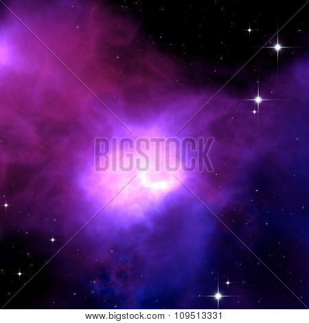 An image of a strange purple nebula in space