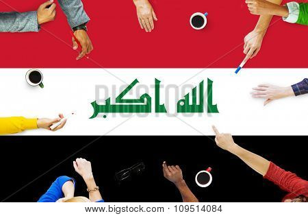 Iraq National Flag Government Freedom LIberty Concept