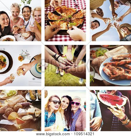 People Diversity Fun Collage Friendship Happiness Concept