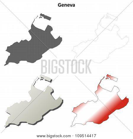 Geneva blank detailed outline map set