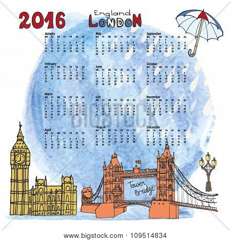 Calendar 2016.London.Landmarks panorama,watercolor splash