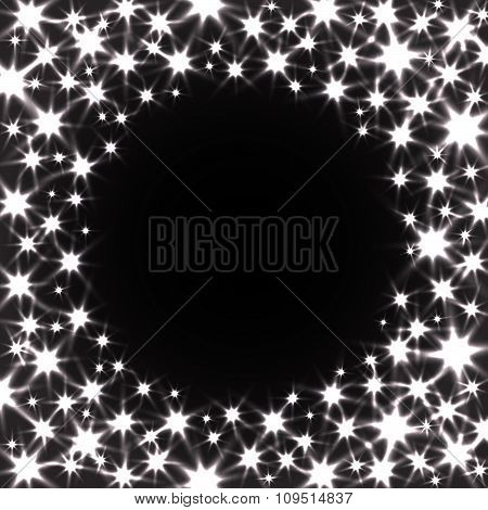 Circle Vector Background with Shiny Stars