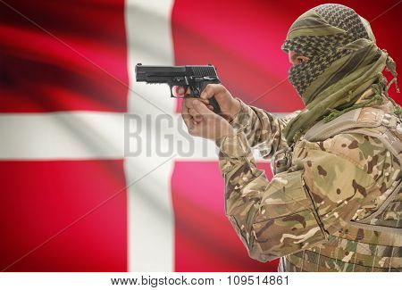 Male In Muslim Keffiyeh With Gun In Hand And National Flag On Background - Denmark
