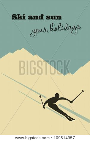 Winter background. Winter background. Skier slides from the mountain.
