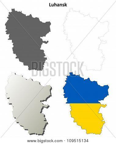 Luhansk blank outline map set - Ukrainian version