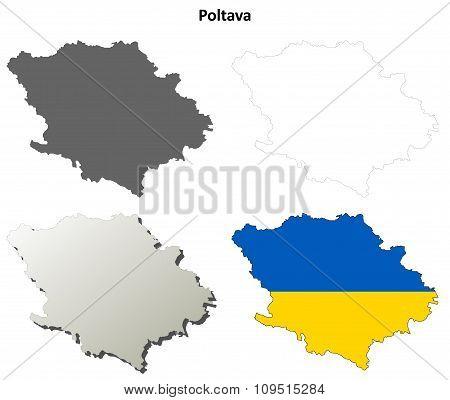 Poltava blank outline map set