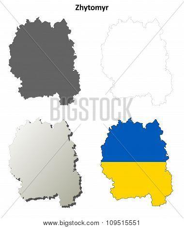 Zhytomyr blank outline map set