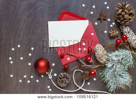 Christmas Background With Red Envelope