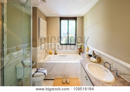 interior of toilet in modern house