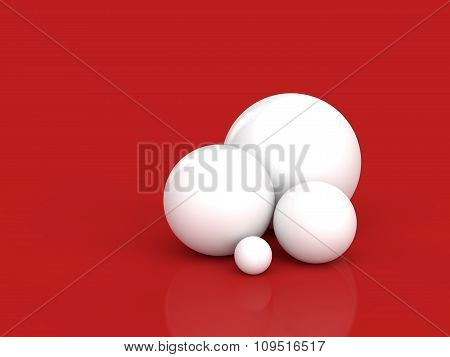 3d white spheres on red background