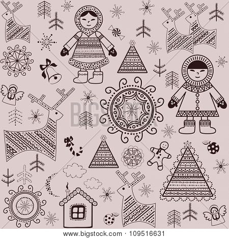 Winter sweet wallpaper with retro pattern and inuit