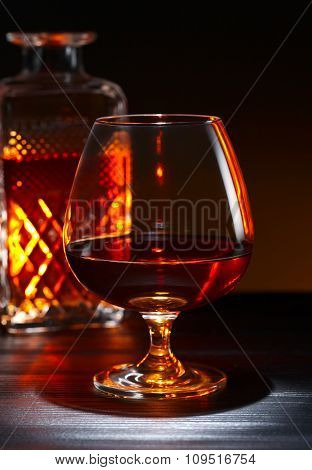 Brandy On Black Wooden Table