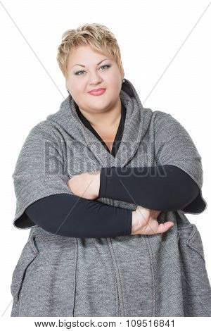 happy fat woman. Isolated on white background. in coat