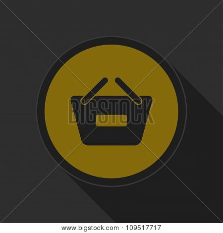Dark Gray And Yellow Icon - Shopping Basket Minus
