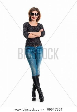 girl with girl with sunglasses on high heels isolated on white background
