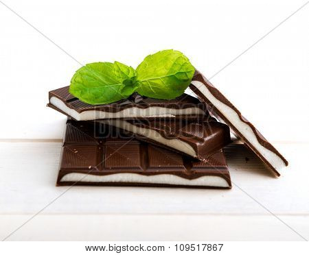mint chocolate on a wooden background