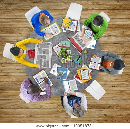 Aerial View People Teamwork Working Studying Contemporary Office