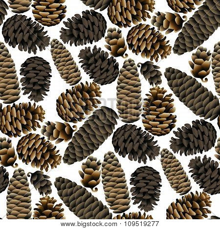 Seamless pattern of the pine cones