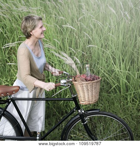 Woman Bicycle Smiling Relaxation Field Concept