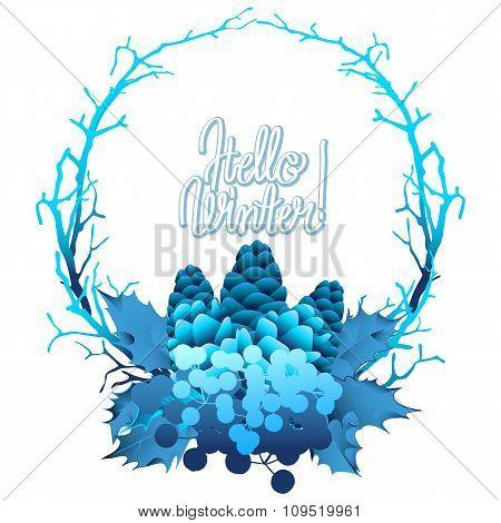Winter frozen wreath