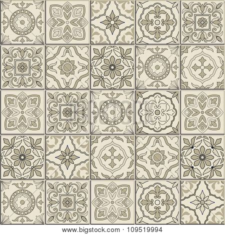Gorgeous seamless  pattern from sepia white Moroccan, Portuguese  tiles, Azulejo, ornaments.