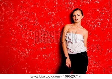 Pretty Glamorous Young Woman Against The Red Background