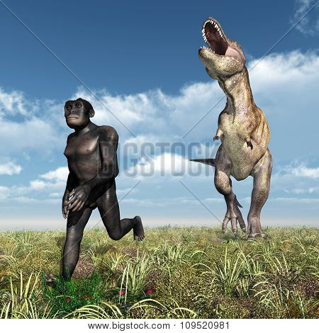 Tyrannosaurus Rex attacks Homo Habilis