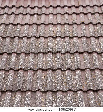 Old Roof With Ceramic Tiles Closeup