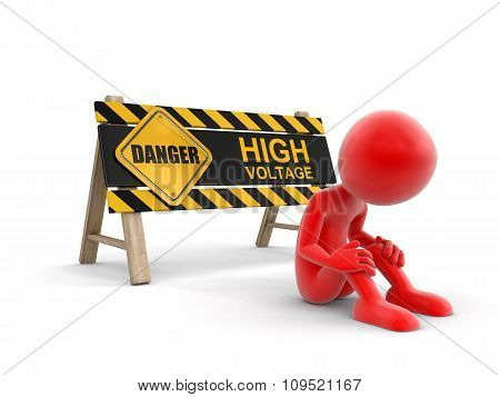 High voltage sign and man