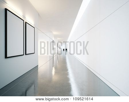 Empty space of contemporary gallery with blank frames. 3d render