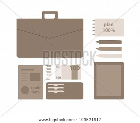 Conceptual illustration of a business person. Working on a digital tablet. Business tools, materials