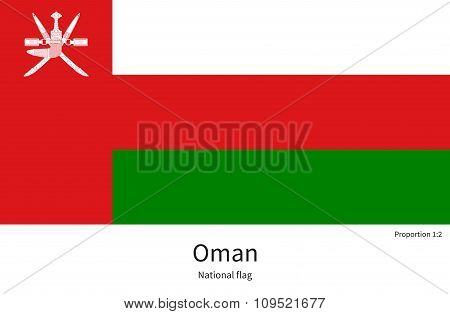 National flag of Oman with correct proportions, element, colors